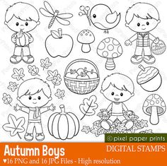 Autumn Boys - Digital stamps - Clipart - Fall - Line art