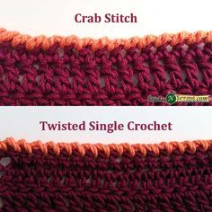 Edging - Crab Stitch & Twisted SC Great tutorial for these crochet edges! Crochet Boarders, Crochet Edging Patterns, Crochet Lace Edging, Crochet Flowers, Crochet Edgings, Stitch Patterns, Crochet Blanket Edging, Crochet Squares, Loom Patterns