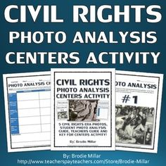Civil Rights - Photo Analysis Centers Activity (Teachers Guide and Key) 6th Grade Social Studies, Social Studies Classroom, Social Studies Resources, History Classroom, Teaching Social Studies, Teacher Resources, Classroom Resources, 8th Grade History, Study History