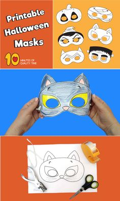 Printable Halloween Masks Halloween Masks Kids, Printable Halloween Masks, Halloween Templates, Halloween Week, Printable Masks, Halloween Face Mask, Halloween Activities, Scary Halloween, Halloween Crafts