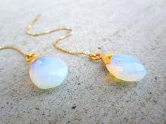 Opalite Gold Thread Earrings Long Ear Threaders