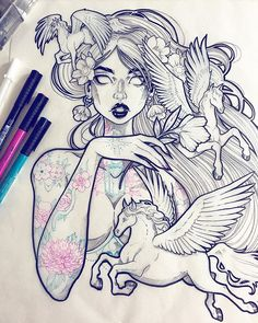 Here she is with tattoos 💕 I made a flash sheet for them first that I might share later. Last drawing of 2015? Maybe... 🙈✨ #graphicartery #artshare #artwork #myart #sketch #draw #artsy #arte #art #artnerd #artist #illustration #artistsoninstagram #instaart #artcollective2015 #artfido #im_gallery #art_spotlight #art_motive #worldofpencils #worldofartists #spotlightonartists #instartpics #ink #fabercastell #pegasus #tattoos