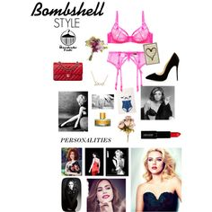 Bombshell: Mood Board by nicole-longstreath on Polyvore featuring Fables, Dita Von Teese, Chanel, Kate Spade, Lord & Berry, Natural Curiosities, OKA and COVERGIRL