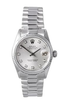 Vintage Rolex Women's White Gold Midsize President Watch by Donald E. Gruenberg Inc.