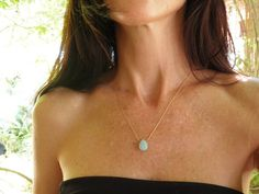 Tiny Teal Necklace A