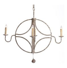 With its interlocking circle design and four chandelier bulbs; the Winthrop Chandelier is as unique as it is beautiful. Crafted from iron with an aged metallic finish this chandelier is a perfect addition to the home. This item is UL approved.