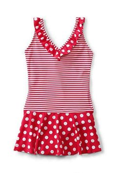 0925beff45b20 (eBay Sponsored) NEW 10 LANDS END Girls Swim Suit Polka Dot Stripe Red/