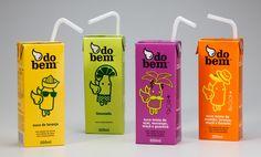 Embalagens de suco de caixinha da marca Do Bem.  Blog Choco La Design (http://chocoladesign.com)  http://chocoladesign.com/estudo-de-case-13-suco-do-bem-design-do-bem