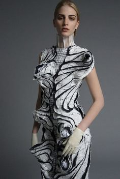 Sculptural Fashion - dramatic dress with layered textures; experimental fashion // Thom Browne S/S 2014