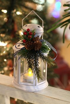 Lantern  8 Inch Winter White Christmas Lantern with Holiday Decor and Tealight - Buy Now