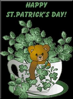 Happy St. Patrick's Day glitter green bear gif teacup clover st patricks day