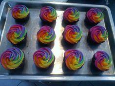 Rainbow Icing Cupcakes