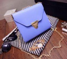 Korean Fresh Lovely Candy Color Chain Shoulder Bag Blue pas cher