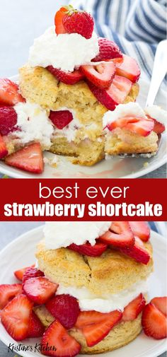 Strawberry Shortcake, with flaky biscuits, sweet juicy strawberries and fresh whipped cream. This easy strawberry shortcake recipe is perfect for summer! Strawberry Shortcake Recipe For Two, Shortcake Recipe Easy, Strawberry Topping, Strawberry Recipes, Fruit Recipes, Sweet Recipes, Dessert Recipes, Bisquick Strawberry Shortcake, Recipies