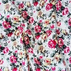 Roses Cotton Stretch Dress Fabric