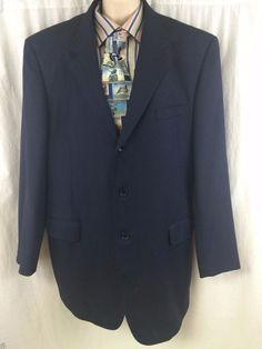 Tiglio Sport Coat Blue 48 Merino's Extra fine Super 140's Wool Italy Chianti Men #Tiglio #ThreeButton
