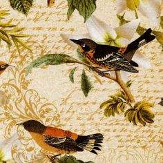Birds and White Roses  David Textiles  Fat door BywaterFabric, $2.75