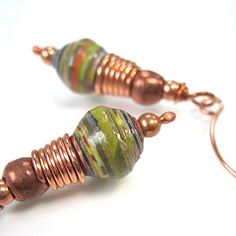 Earthy Green Earrings African Paper & by RoughMagicCreations, $26.00