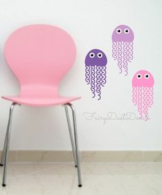 These jellyfish will not sting...but they might make you smile! Set of 5 cute jellyfish wall decals  Perfect for a daycare, nursery, kids bathroom wall, beach or ocean themed bedroom...can also be applied to doors, mirrors, appliances and many more smooth surfaces...  Choose colors by typing choice in note section on invoice...limit 2 please (eyes will be black & white)  Each Jellyfish Decal measures about 5x12 inches  COLORS: - choose from pull down menus - limit 2 colors  ABOUT YOUR ORD... Little Mermaid Nursery, The Little Mermaid, Nursery Wall Decals, Vinyl Wall Decals, Daycare Nursery, Nursery Ideas, Bedroom Themes, Jellyfish, Fish Theme