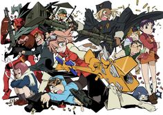 FLCL , Furi Kuri , Fooly Cooly , the original animation written by Yoji Enokido and manga written by Hajime Ueda is a science fiction series. Me Anime, Manga Anime, Anime Art, Anime Stuff, Cartoon Cartoon, Furi Kuri, Good Anime Series, Anime Group, Fan Art