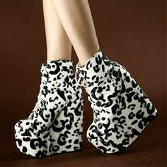 Wedges Shoes | Charming Leopard Print PU Round Closed Toe Super High Heel Wedges - Hugshoes.com