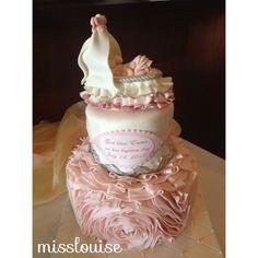 Dainty Pink Baby + Ruffles Baptism Cake — Christening / Baptism