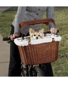 Solvit Wicker Rattan Bike Bicycle Basket Dog Pet Carrier with Removable Shade. Stylish while keeping your pet safe and secure.