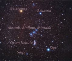 The Constellation Orion - It is one of the most conspicuous and recognizable constellations in the night sky. It was named after Orion, a hunter in Greek mythology. Its brightest stars are Rigel (Beta Orionis) and Betelgeuse (Alpha Orionis), a blue-white and a red supergiant, respectively.