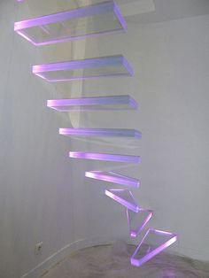 Scala a L / in vetro / aperta / luminosa AERO VERRE LUMINEUX Trescalini - Escaliers, structures et garde-corps