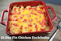 21 Day Fix Enchiladas Container Count (1 enchilada) = One red, one yellow, one blue GetFierceFitness.com