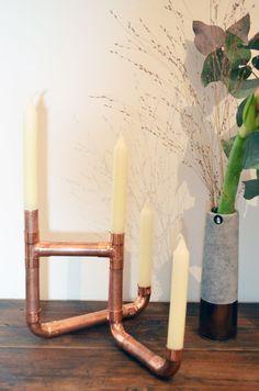 Kerzenständer aus Kupferrohr Mehr