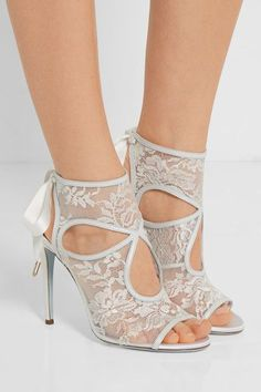Heel measures approximately 105mm/ 4 inches Pale-blue lace, white leather Ties at ankle Made in Italy