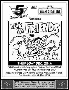 "Vintage Toledo TV - Other Vintage Print Ads - TV5 and Sesame Street Live presents ""Let's Be Friends"" (Mon 12/26/94 ad)"