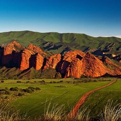 'The red sandstone rock formation of Jeti-Ögüz ('Seven Bulls') south of Lake Issyk-Kul takes its name from a famous Kyrgyz legend' Kyrgyzstan: the Bradt Guide; www.bradtguides.com