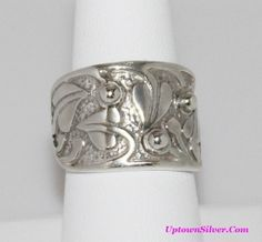 Silpada Israel Artisan Size 8 Floral Leaf Vine Ball Holy Trinity 925 Sterling Silver Wide Band Ring Retired Rare