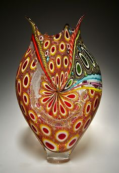"""Cherry Foglio"" ~ Art Glass Vessel Created by David Patchen"