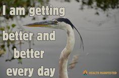 I am getting better and better every day - Health Manifested  #healthmanifested #betternbetter #bettereveryday #better  #healthyhappylife #wellnessjourney #nourishyourself #fitforme #justbreathe #lookwithin #inspirationdaily  #Mindset #Success #Inspire #ThinkBig #Believe #Motivate #instamotivation #life #LOA #lawofattraction #power #motivation #inspiration #quotes #dreams #morningmotivation #hope #havemotivation #onlymotivation #IAm #raiseyourvibrations #mindbodyspirit #mindbodysoul Mind Body Spirit, Mind Body Soul, Inspiration Quotes, Motivation Inspiration, Healthy Inspirational Quotes, Law Of Attraction Quotes, Life Words, Just Breathe, Morning Motivation