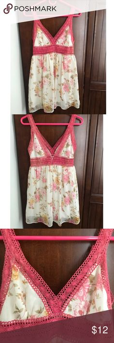 Floral Dress with Crochet Detail Worn once!  Soft floral design with pink crochet neck and waistline  Zipper back closure Fashion Spy Dresses Mini