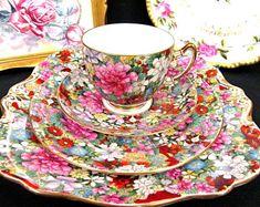 Rare Star Paragon Chintz Tea Cup and Saucer Trio Cake Plate Teacup Rose HP Set