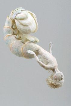 Sea fairy merfolk out in wool felt. Length approx. 90 by mikafiltz