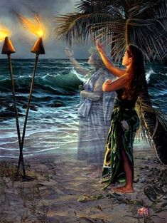 Art by Leo Hone .. her paintings reflect the connection between the past and present .. ancient Hawaiian ancestral spirit guides influence and pass on their skills to contemporary Hawaiians