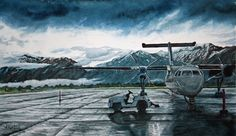 This is an award winning watercolor painting of the airport at Jackson Hole Wyoming, when I went to Yellowstone - good memories.