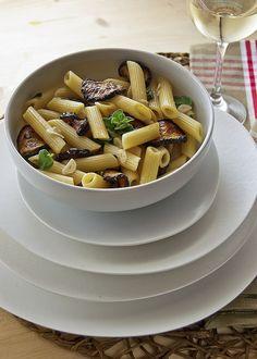 Pasta with fried zucchini and fresh oregano