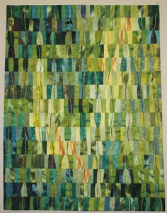 """""""Greens in my Garden"""", x by Joan Dyer. Mountain Art Quilters: September 2015 Show and Tell. Strip Quilts, Scrappy Quilts, Lap Quilts, Quilt Blocks, Monochromatic Quilt, Watercolor Quilt, Jelly Roll Quilt Patterns, Homemade Art, Quilt Modernen"""