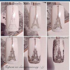 Nail Art step by step Paris Nail Art, Paris Nails, Nail Art Modele, Vintage Nail Art, Joy Nails, Nailart, Foto Art, Nagel Gel, Nail Decorations