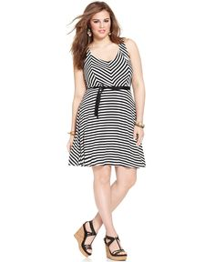 American Rag Plus Size Sleeveless Striped Skater Dress - Plus Size Dresses - Plus Sizes - Macy's