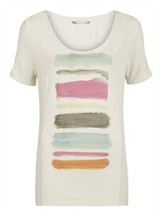 Sandwich jersey top in beige with blue, pink, brown print. Summer 2014