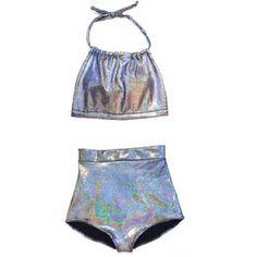 Black Holographic High Waist Bikini