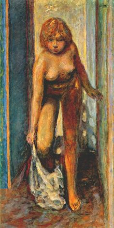 "Pierre Bonnard - Woman undressing c1930  |  ""Marthe's fondness for bathing became crucial to Bonnard's art. He portrayed her in various poses, says Zutter, ""but always with a slender body, long legs, narrow waist and firm breasts. She usually appears in the bathroom, in the bath or stepping out of it or in the dressing room."" The emotional glimpses he gives us vary from ""sensual, erotic and intimate to private and solitary""."