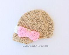 Crochet Newsboy Hat, Girl bow Hat, Baby girl hat